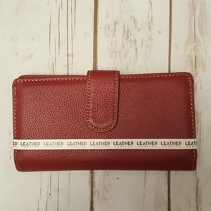Perfect Gift Red Leather Identity Theft Wallet